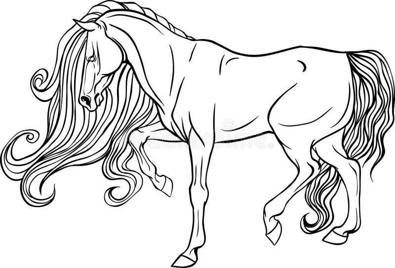 Volwassen het kleuren paginapaard royalty-vrije illustratie