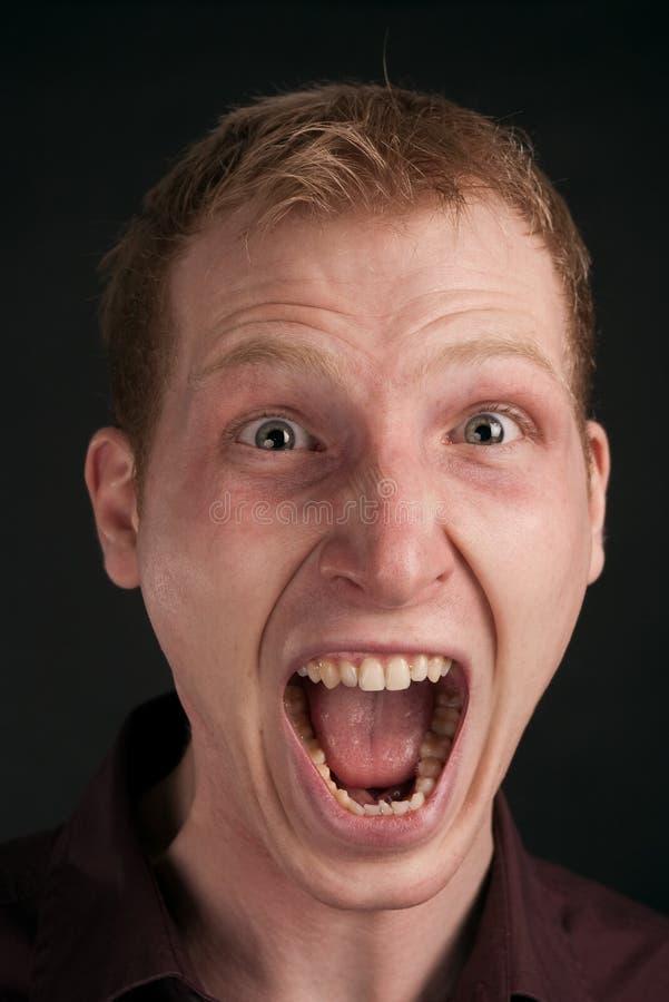 Volwassen kerel in verschrikking stock foto's
