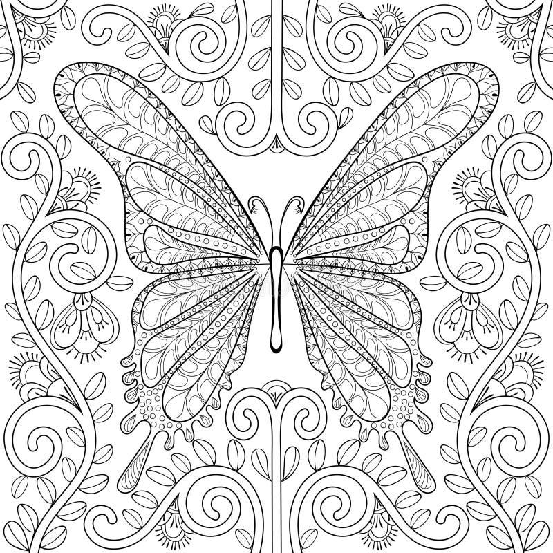 Volwassen kleurend boek met vlinder in bloemenpagina's, zentangle v stock illustratie