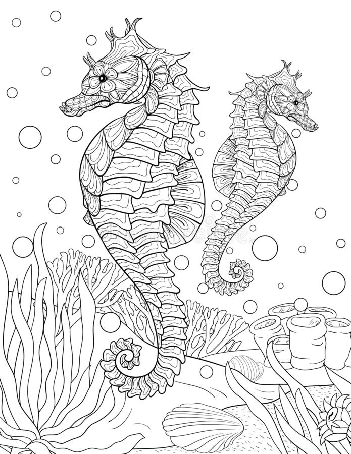 Volwassen kleurend boek, pagina twee zeepaardjes voor het ontspannen De stijlillustratie van de Zenkunst royalty-vrije illustratie