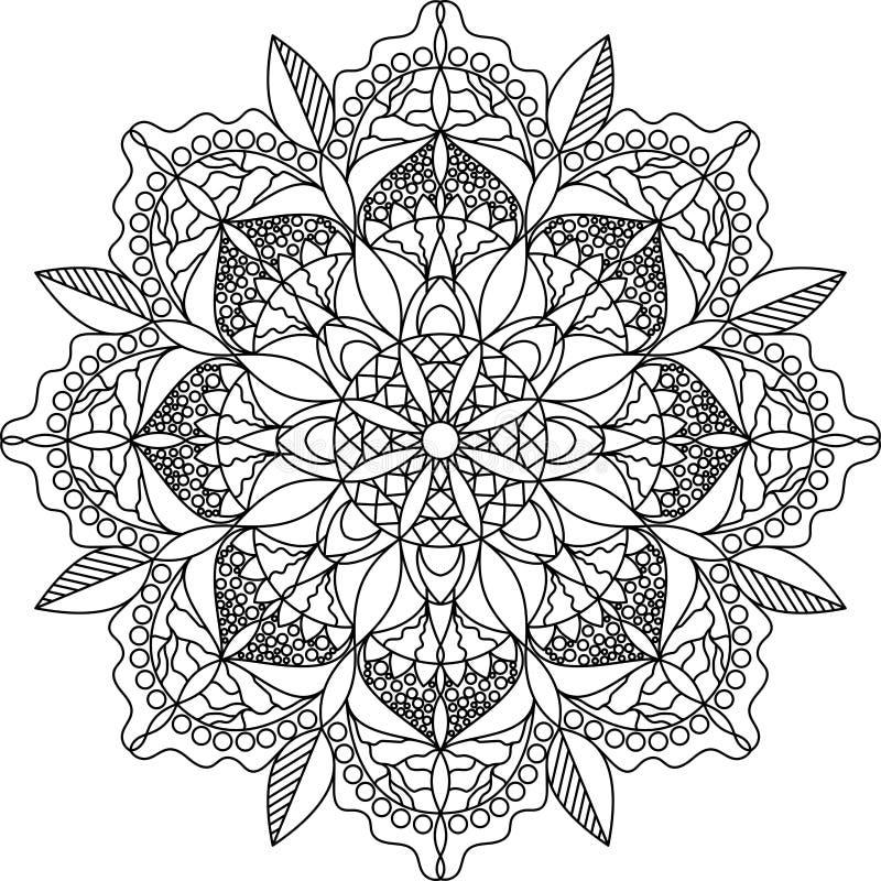 Volwassen kleurende pagina, mandala royalty-vrije stock afbeelding