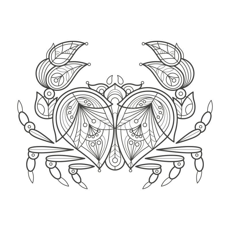 Volwassen Kleuring Overzeese Krab royalty-vrije illustratie