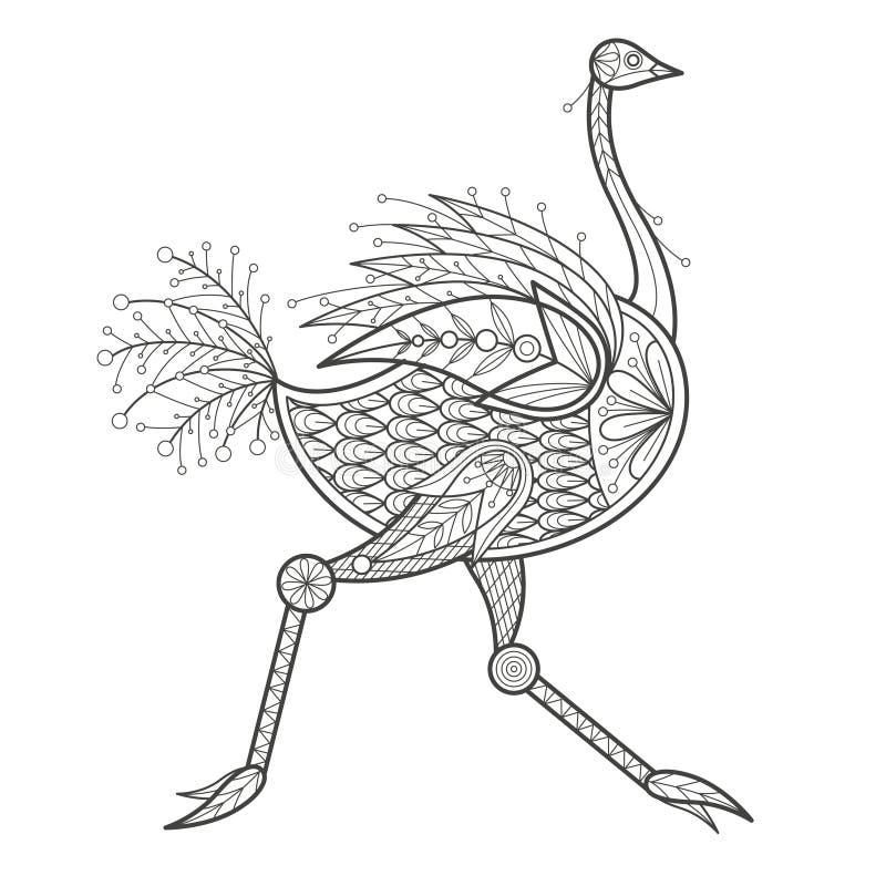 Volwassen Kleuring - struisvogel vector illustratie