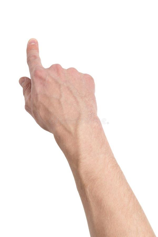 Download Volwassen Mannelijke Hand Wat Betreft Het Virtuele Scherm Stock Afbeelding - Afbeelding bestaande uit pers, gesturing: 29505657