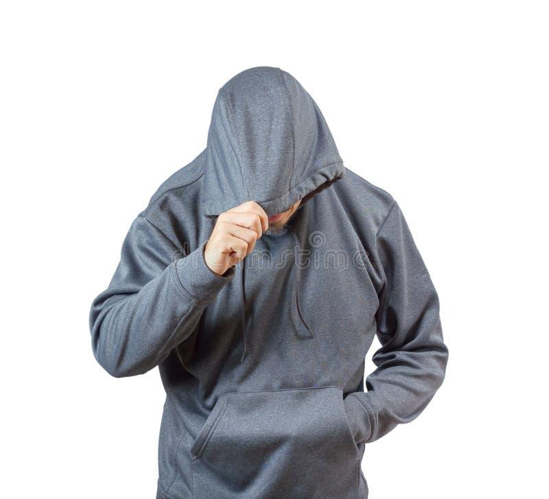 Volwassen mens in hoody stock fotografie