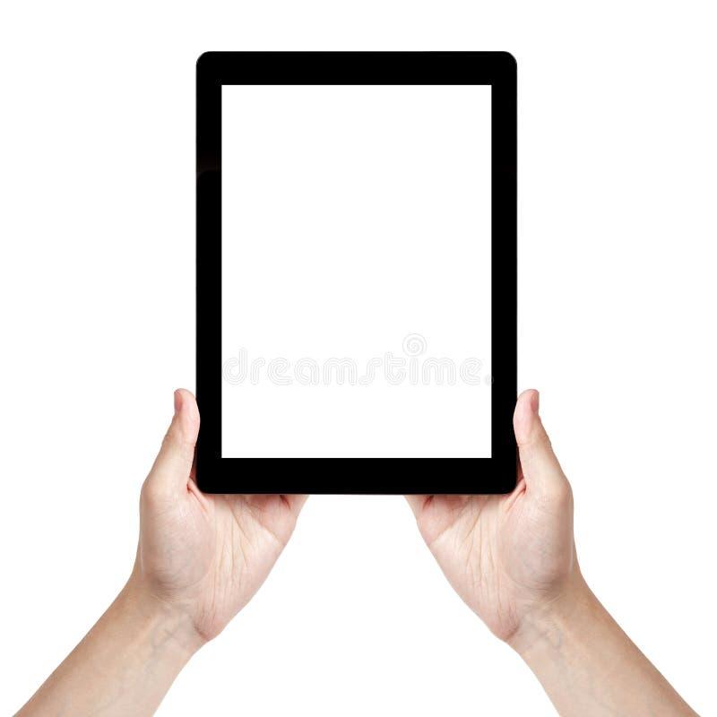 Volwassen mensenhand die generische tabletverticaal houden royalty-vrije stock afbeeldingen