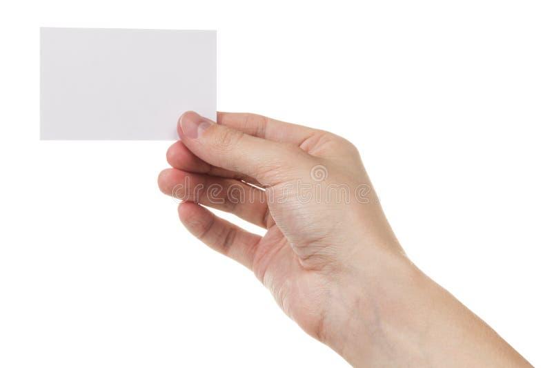 Volwassen mensenhand die lege kaart houden stock foto's