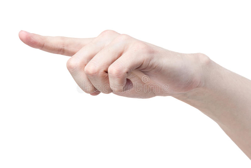 Volwassen mensenhand wat betreft virtuele interface stock afbeelding