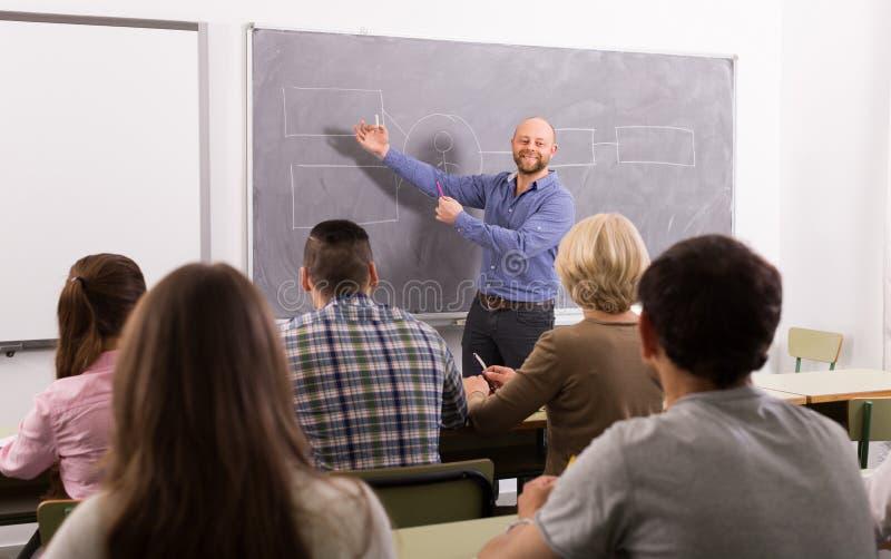 Volwassen studenten met leraar in klaslokaal royalty-vrije stock foto
