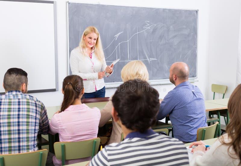 Volwassen studenten met leraar in klaslokaal royalty-vrije stock afbeelding