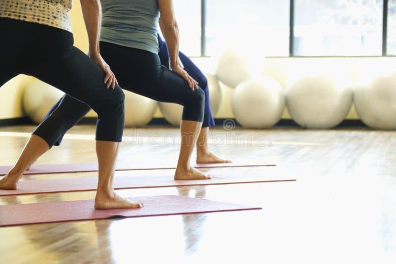Volwassen wijfjes in yogaklasse. royalty-vrije stock foto's