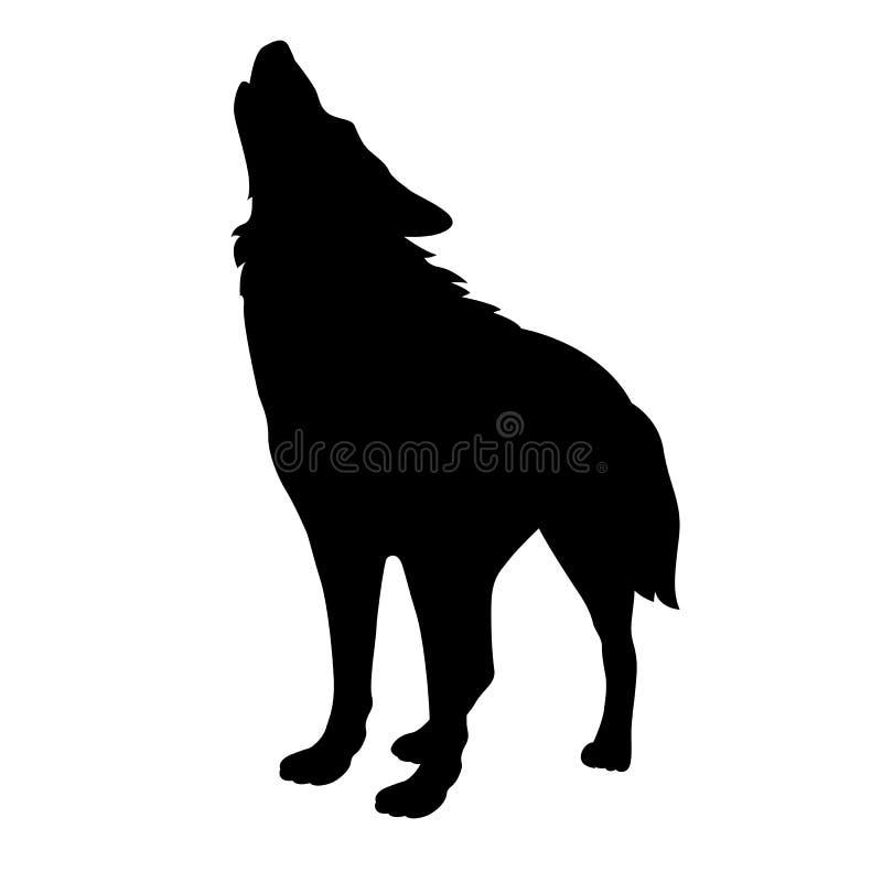 Volwassen wolfs vector zwart silhouet royalty-vrije stock afbeeldingen