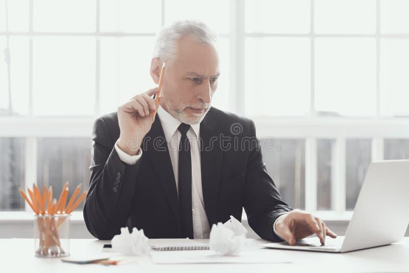 Volwassen Zakenman Working op Laptop in Bureau royalty-vrije stock afbeelding