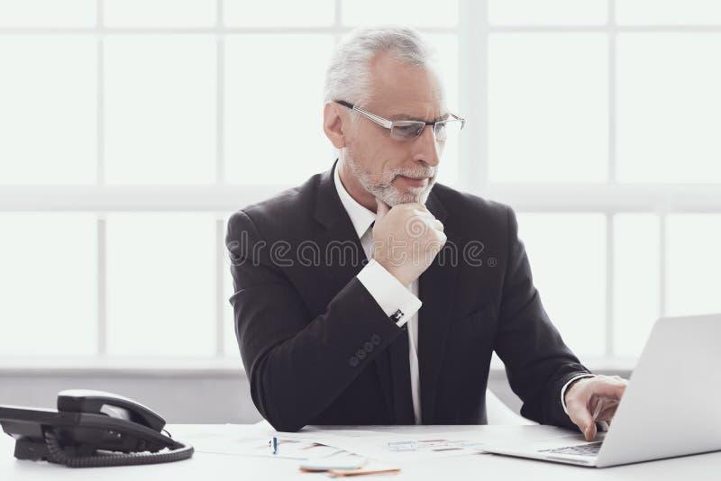 Volwassen Zakenman Working op Laptop in Bureau stock foto