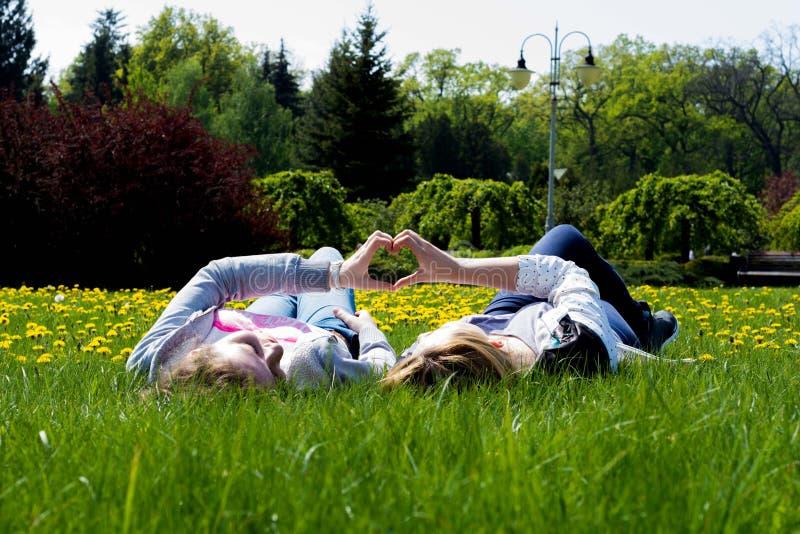 Volwassen zusters in een park stock foto