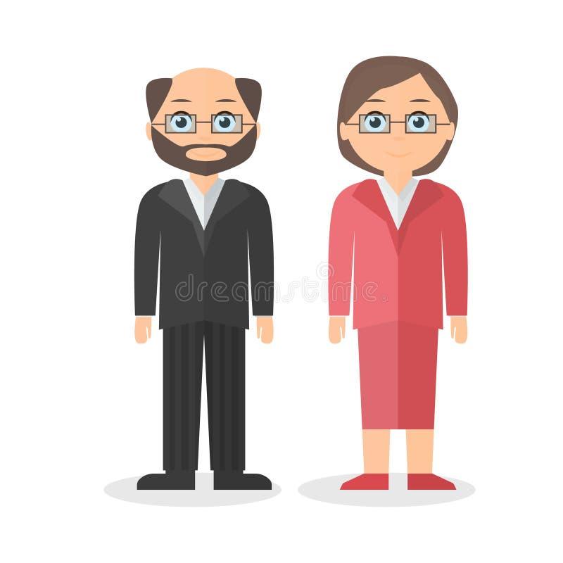 Volwassenenkarakters, een man en een vrouw Vlakke stijl Vector illustratie royalty-vrije stock foto