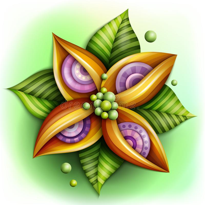 Volymetrisk abstrakt fantastisk färgrik blomma royaltyfri illustrationer