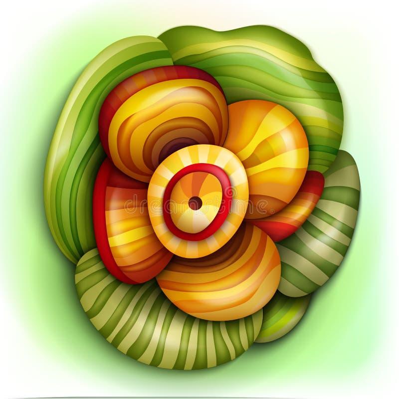 Volymetrisk abstrakt fantastisk färgrik blomma vektor illustrationer