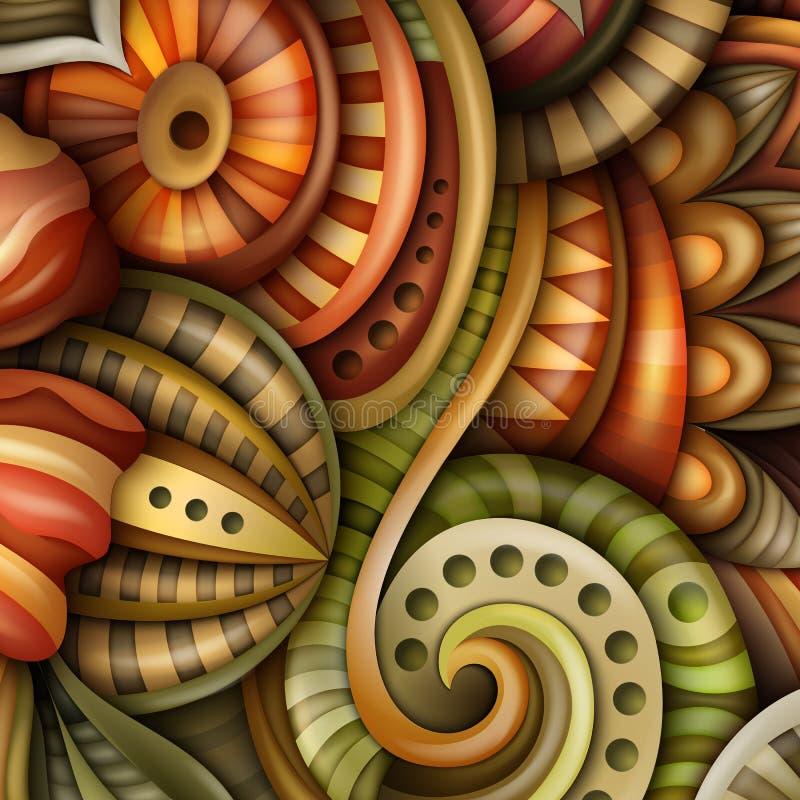 Volymetrisk abstrakt fantastisk färgrik rund blommaillustration stock illustrationer