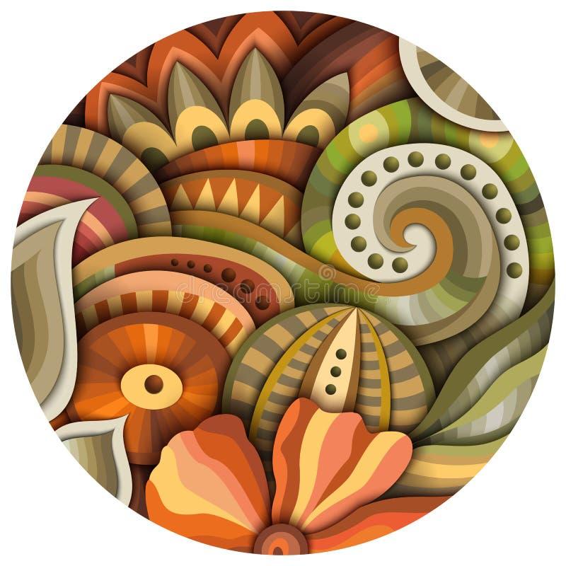 Volymetrisk abstrakt fantastisk färgrik rund blommaillustration royaltyfri illustrationer