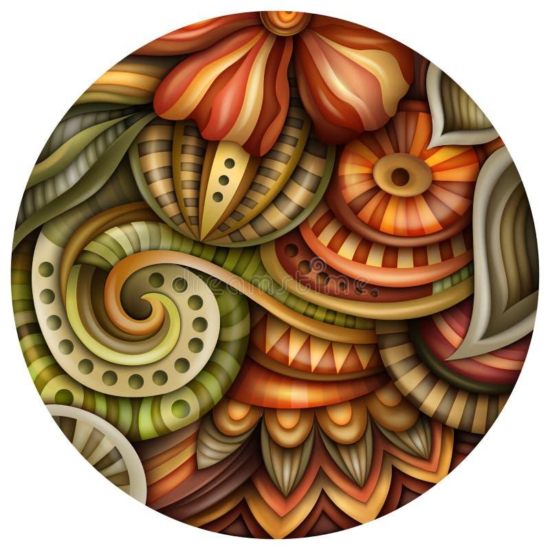 Volymetrisk abstrakt fantastisk färgrik rund blommaillustration vektor illustrationer