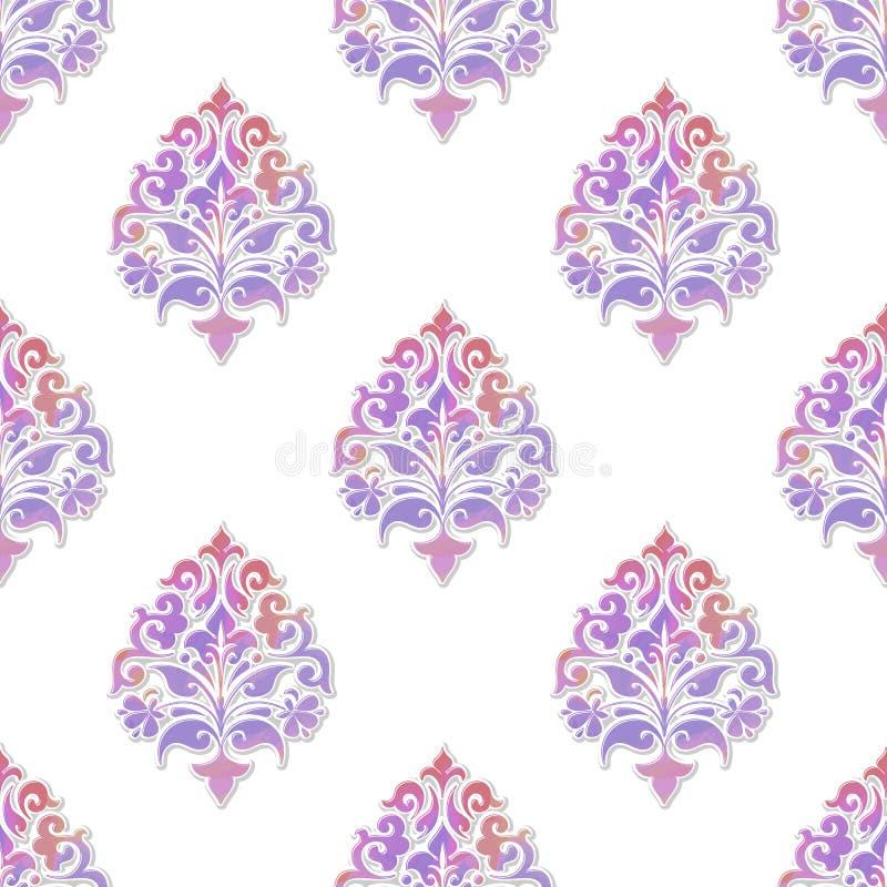 Volymetrisk damast sömlös modellbakgrund för vektor Elegant lyx utföra i relief textur med vattenfärgen för tapeter stock illustrationer