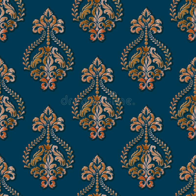Volymetrisk damast sömlös modellbakgrund för vektor Elegant lyx utföra i relief textur med vattenfärgen för tapeter royaltyfri illustrationer