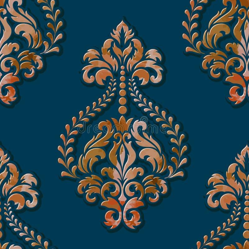 Volymetrisk damast sömlös modellbeståndsdel för vektor Elegant lyx utföra i relief textur med vattenfärgen för tapeter stock illustrationer
