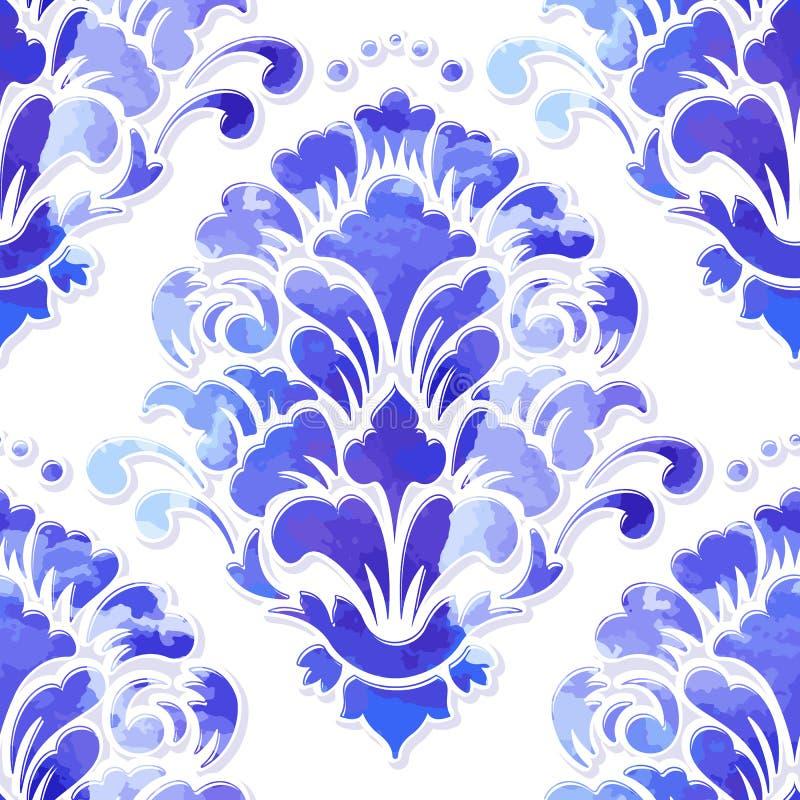 Volymetrisk damast sömlös modellbeståndsdel för vektor Elegant lyx utföra i relief textur med vattenfärgen för tapeter royaltyfri illustrationer