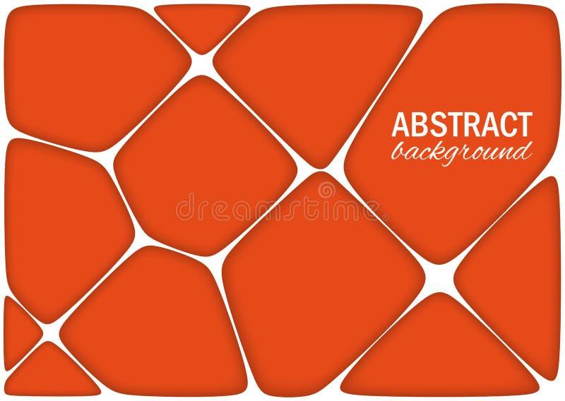 Volymetrisk geometrisk ljus orange bakgrund med översikten pressar ut effekt abstrakt vektor för bakgrund 3d vektor illustrationer