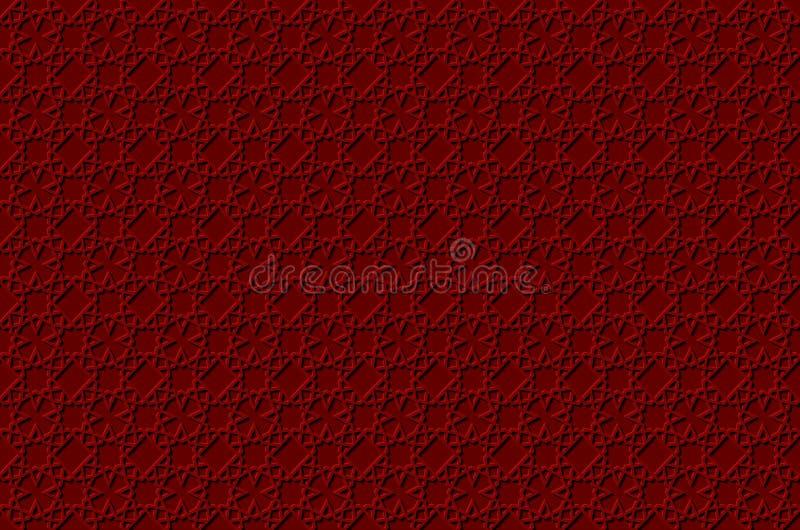 Volymetrisk geometrisk röd och vit bakgrund med översikten pressar ut effekt royaltyfri illustrationer