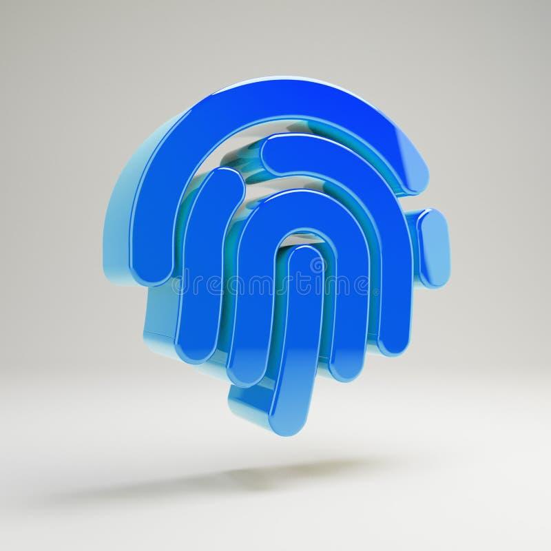 Volymetrisk glansig blå fingeravtrycksymbol som isoleras på vit bakgrund stock illustrationer
