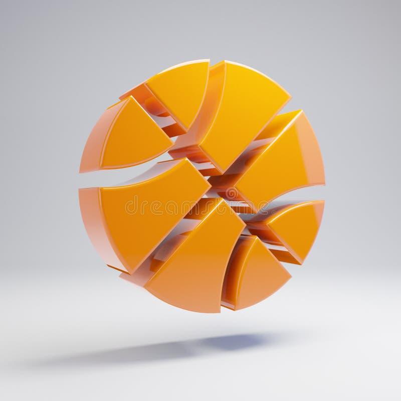 Volymetrisk glansig varm orange basketbollsymbol som isoleras på vit bakgrund stock illustrationer