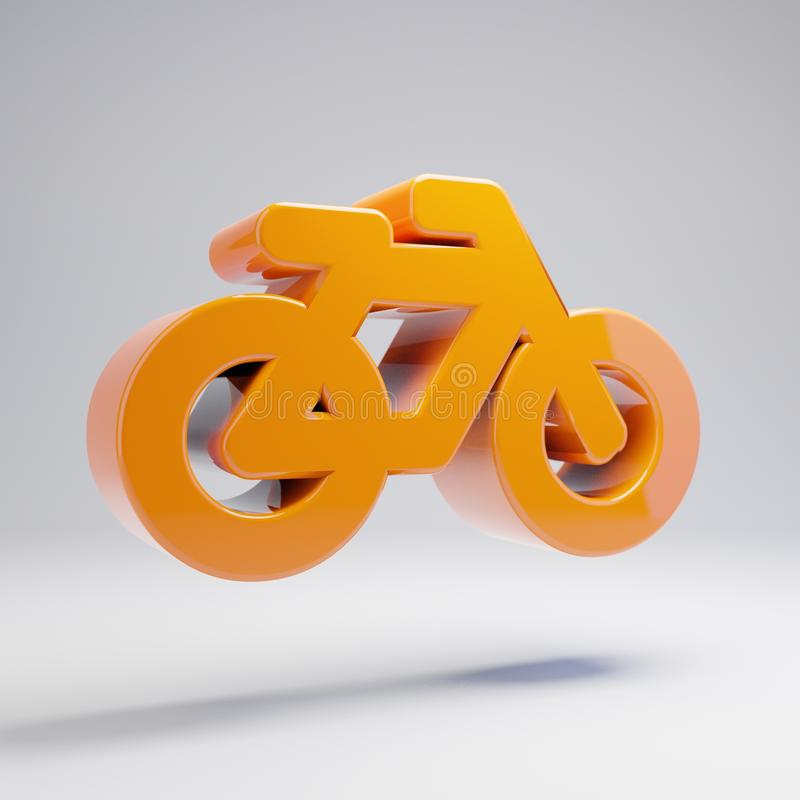 Volymetrisk glansig varm orange cykelsymbol som isoleras på vit bakgrund vektor illustrationer