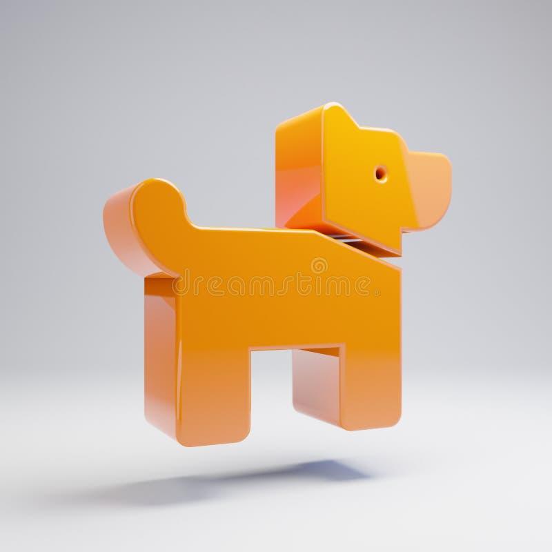 Volymetrisk glansig varm orange hundsymbol som isoleras på vit bakgrund stock illustrationer