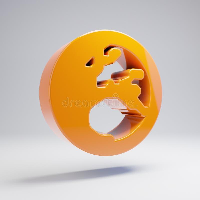 Volymetrisk glansig varm orange jordklotEuropa symbol som isoleras på vit bakgrund vektor illustrationer