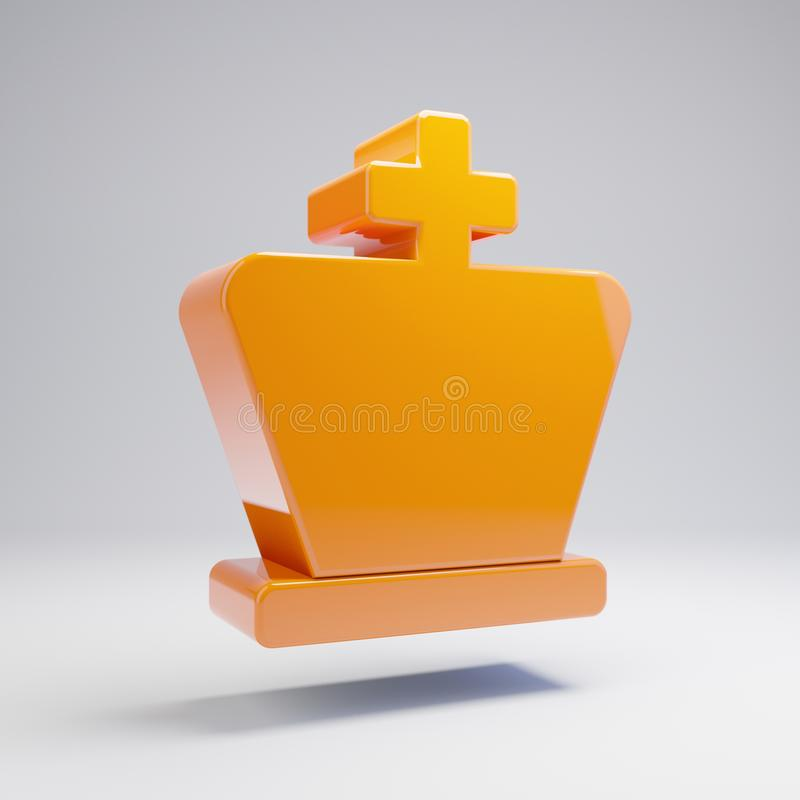 Volymetrisk glansig varm orange schackkonungsymbol som isoleras på vit bakgrund vektor illustrationer