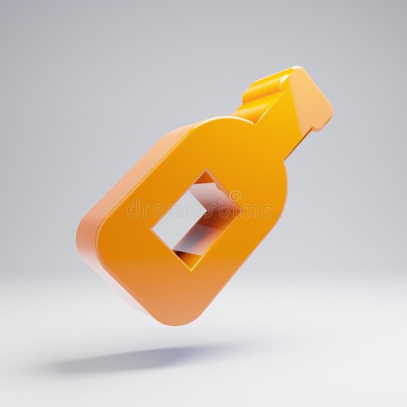 Volymetrisk glansig varm orange symbol för vinflaska som isoleras på vit bakgrund royaltyfri illustrationer