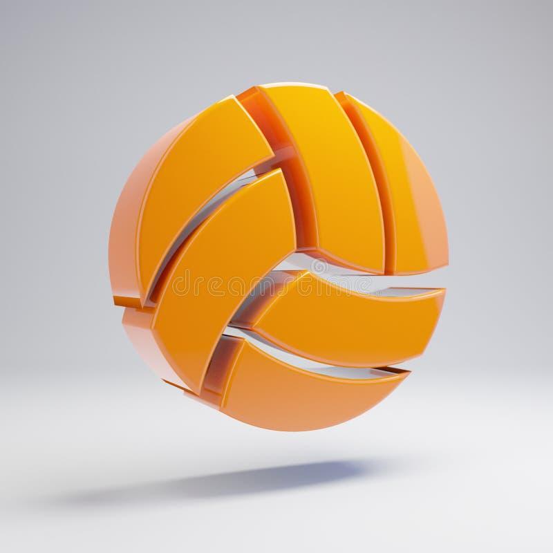 Volymetrisk glansig varm orange volleybollbollsymbol som isoleras på vit bakgrund stock illustrationer