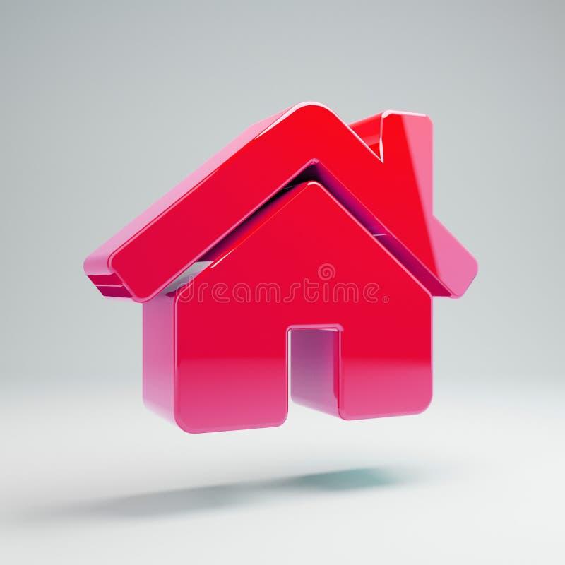 Volymetrisk glansig varm rosa hem- symbol som isoleras på vit bakgrund stock illustrationer