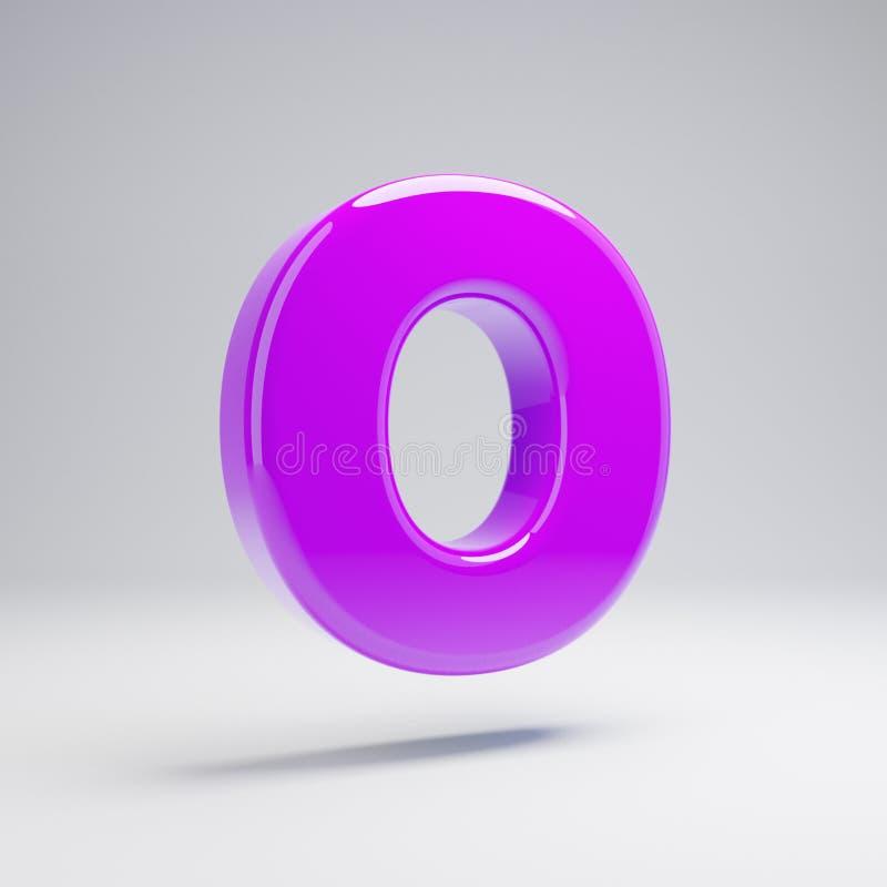 Volymetrisk glansig violett nolla för stora bokstavsbokstav som isoleras på vit bakgrund stock illustrationer