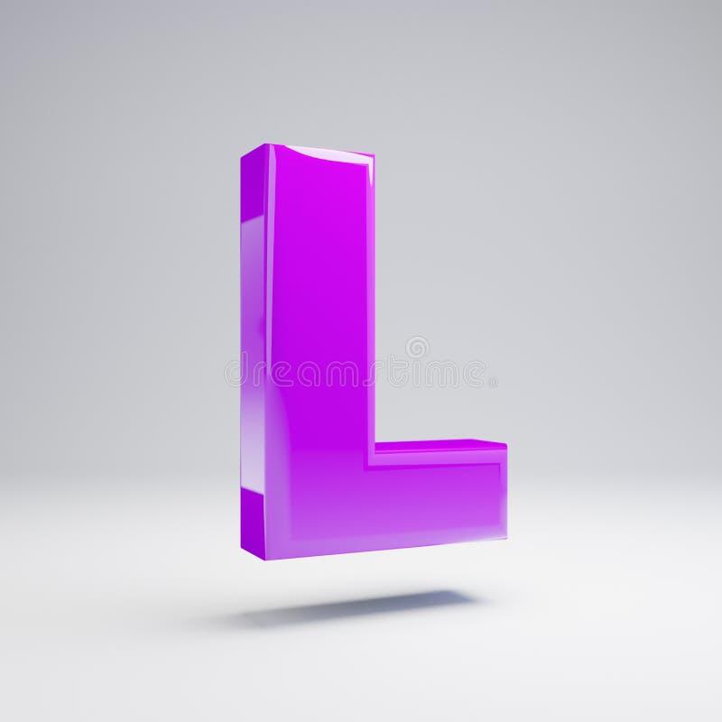 Volymetrisk glansig violett stora bokstavsbokstav L som isoleras på vit bakgrund stock illustrationer