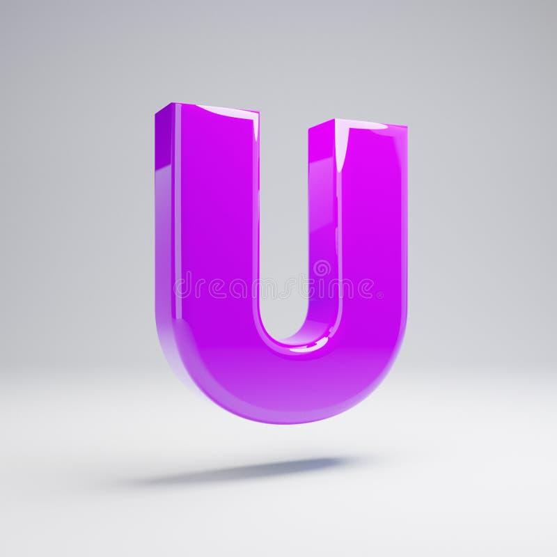 Volymetrisk glansig violett stora bokstavsbokstav U som isoleras på vit bakgrund stock illustrationer