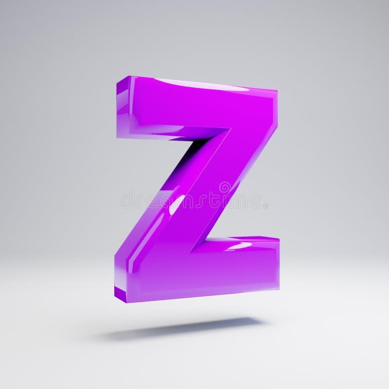 Volymetrisk glansig violett stora bokstavsbokstav Z som isoleras på vit bakgrund royaltyfri illustrationer