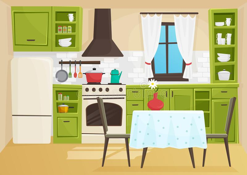 Volymetrisk illustration för vektortecknad film av den retro kökinre för tappning stock illustrationer