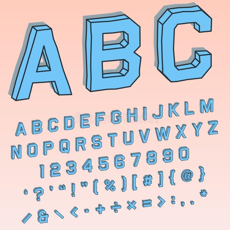 Volymetrisk stilsort 3D i perspektiv med alfabetiska och numeriska tecken vektor illustrationer