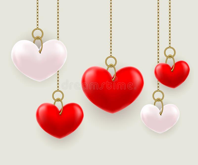 Volymetriska hjärtor som hängs på en kedja stock illustrationer