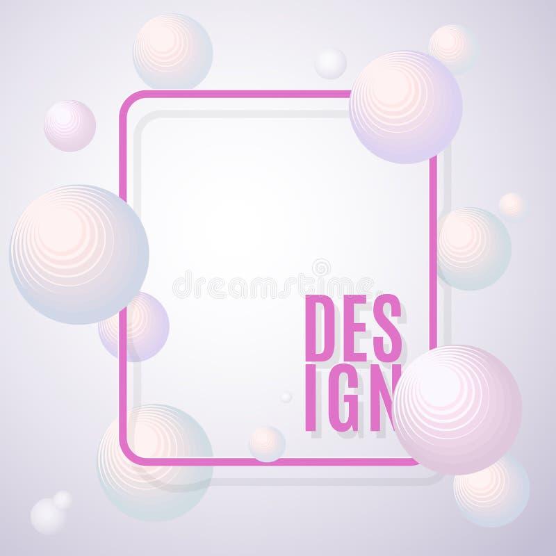 Volymetriska ljusa sfärer för abstrakt bakgrund med en ram- och textdesign på dekorativa futuristiska cirklar för en ljus bakgrun vektor illustrationer