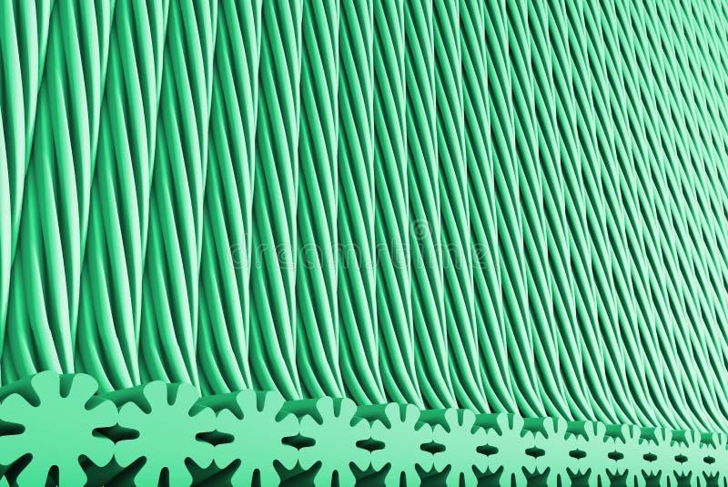 Volymetriska yttersidor bildade med pressad ut blommaform, det roliga begreppet - krickan, illustration för hav-gräsplan science  royaltyfri illustrationer