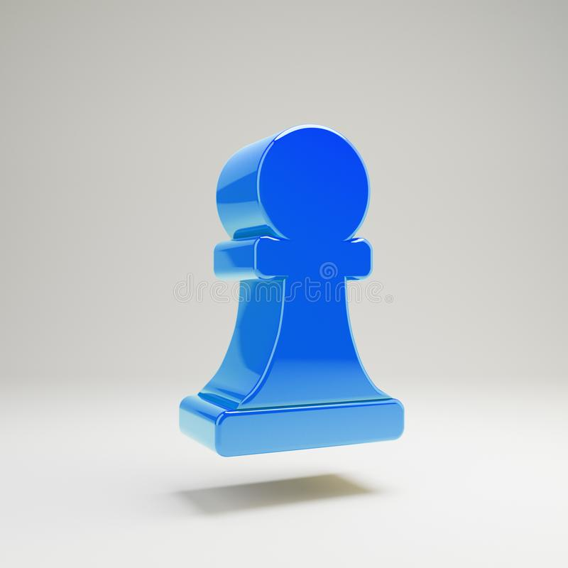 Volymetriskt glansigt blått schack pantsätter symbolen som isoleras på vit bakgrund royaltyfri illustrationer
